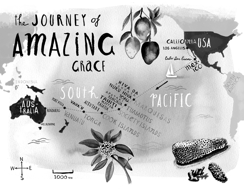 Map of the Journey of Amazing Grace in the book Love with a Chance of Drowning by Torre DeRoche – FearfulAdventurer.com