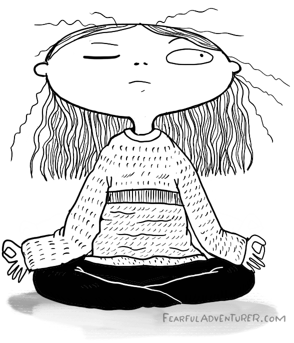 Girl distracted in meditation